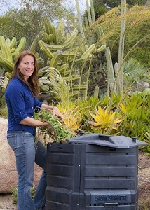 Woman composting.