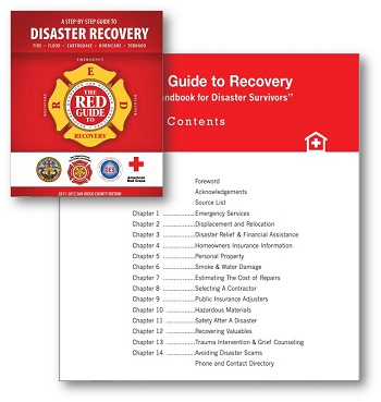 Picture of the cover and the table of contents of the Red Guide to Recovery