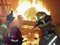 Two firefighters are looking at and pointing at a fire during a training exercise