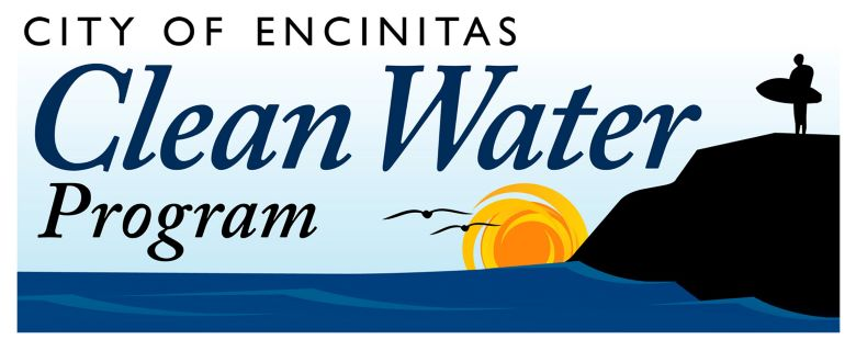 Clean Water Logo linked to email; graphic of lone surfer holding surfboard on cliff overlooking the ocean and the sunset