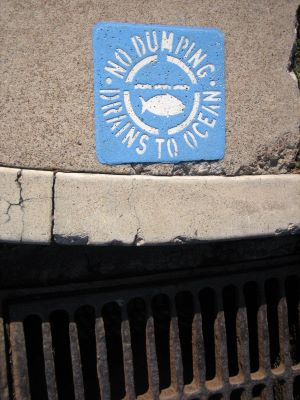 "Storm Drain in the curb of sidewalk that leads to the ocean untreated.  Light Blue Storm Drain Plate that says ""NO DUMPING - DRAINS TO OCEAN"" with a Tuna Fish outline in the center of the words in a circle."