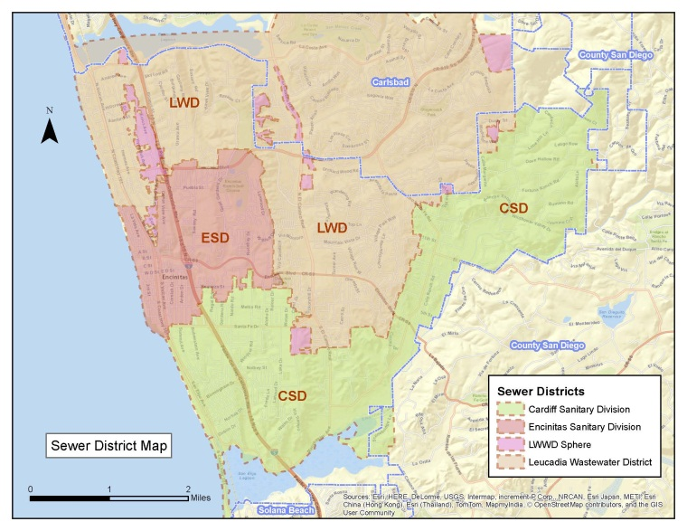 City of Encinitas wastewater district map